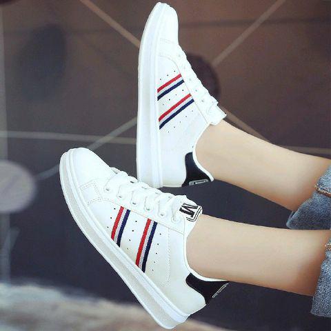 Sneaker Jm13 Putih Garis Dengan Gambar Sepatu Sepatu Wanita