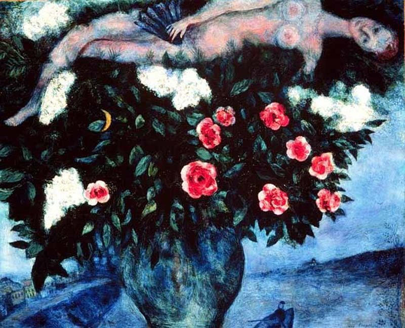 Chagall, Marc - The Woman and the Roses - Ecole de Paris - Nude - Oil on canvas