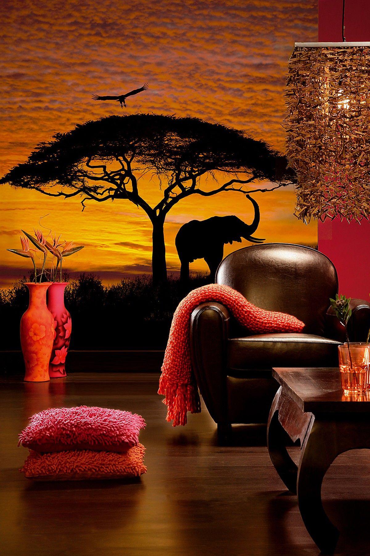 Wallpops African Sunset Mural 76in X 106in Afrikanischer