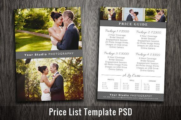 Wedding Price List Template Psd Photography Pricing Template