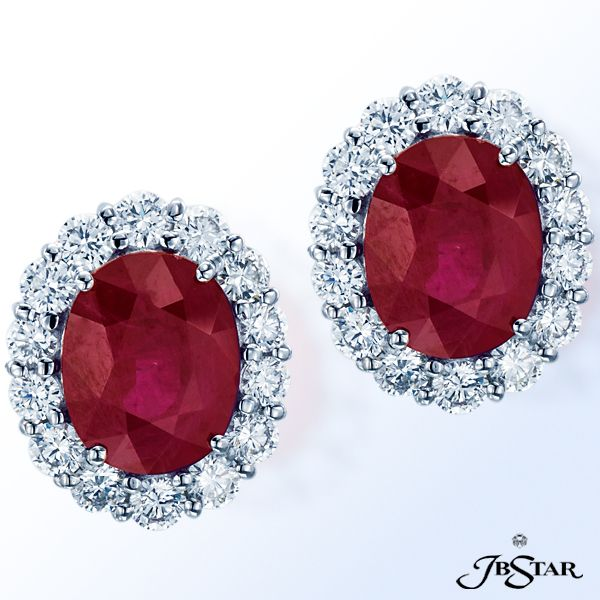 Style 3414 Ruby And Diamond Stud Earrings Hand Set With Certified Oval Burma Rubies 6 33 Ctw Encircled By Round Diamonds Platinum Rubyearrings