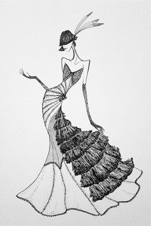 pen and ink design of an art deco gown!