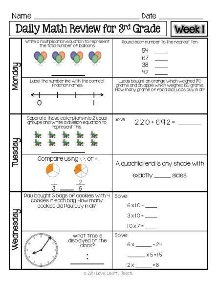 3rd Grade Morning Work 3rd Grade Spiral Math Review 1 Week
