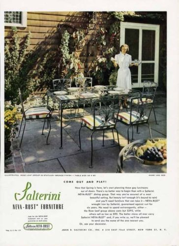 SALTERINI Wrought Iron Patio Furniture Ad - 1949 - New York - Neva Rust