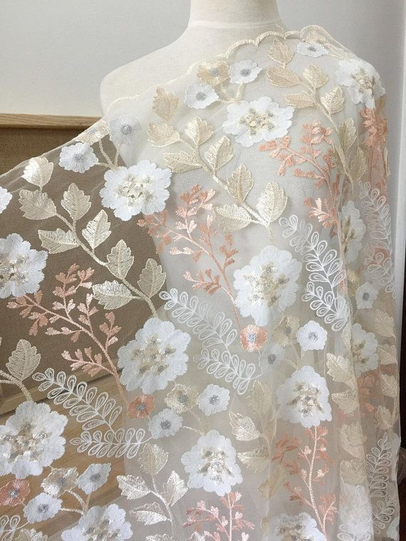 1 Yard Exquisite pastel floral embroidery soft mesh sequin