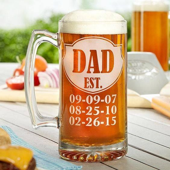 Very best Dad Established Custom Etched Beer Mug 15oz | Cricut, Father and  WE01