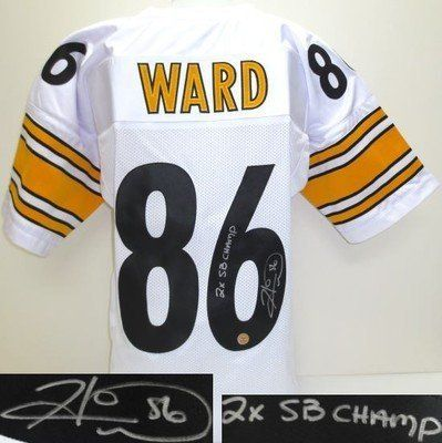 online store 36c75 af88e Hines Ward Signed Pro-Style Custom White Jersey 2x SB Champ ...