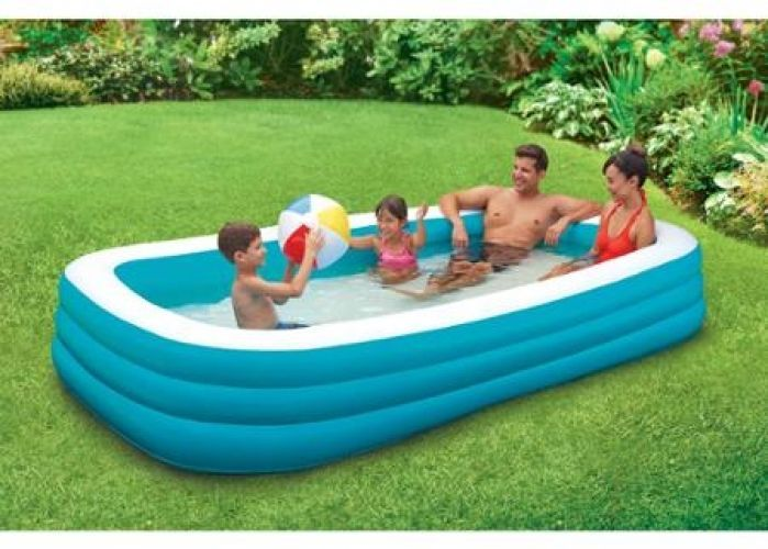 Inflatable Family Pool Deluxe 10 Foot Durable Pvc Swimming Wading Outdoor Pool Family Lounge Pool Family Pool Inflatable Pool