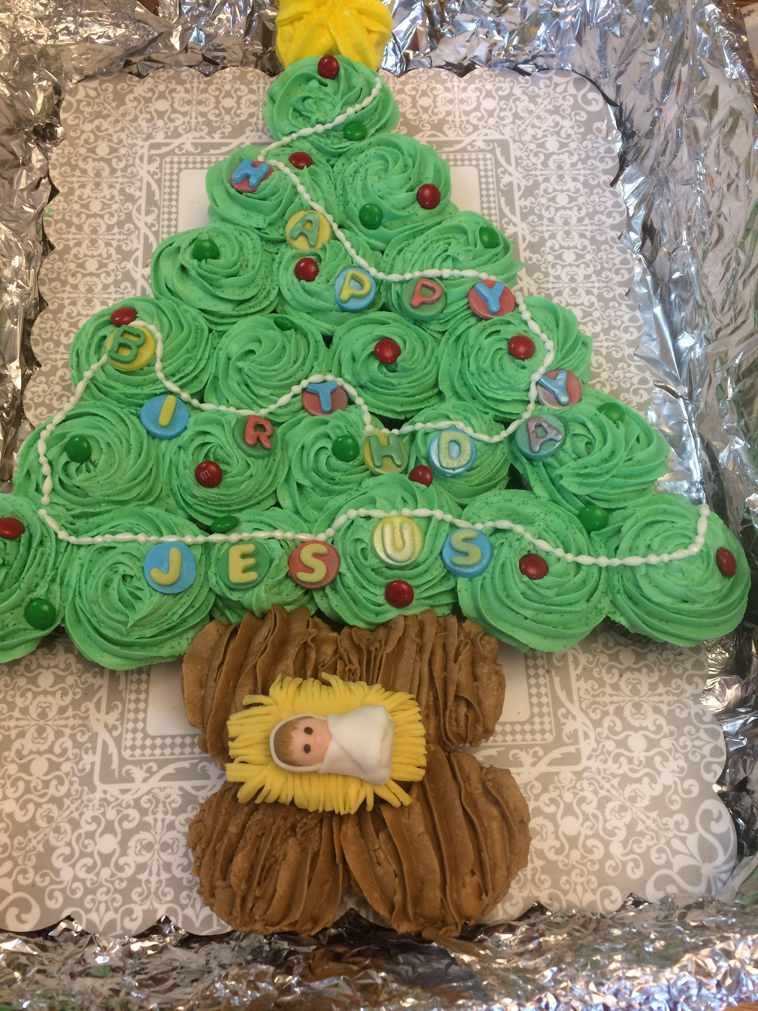 Baby Jesus birthday cake. Celebration at church Jesus