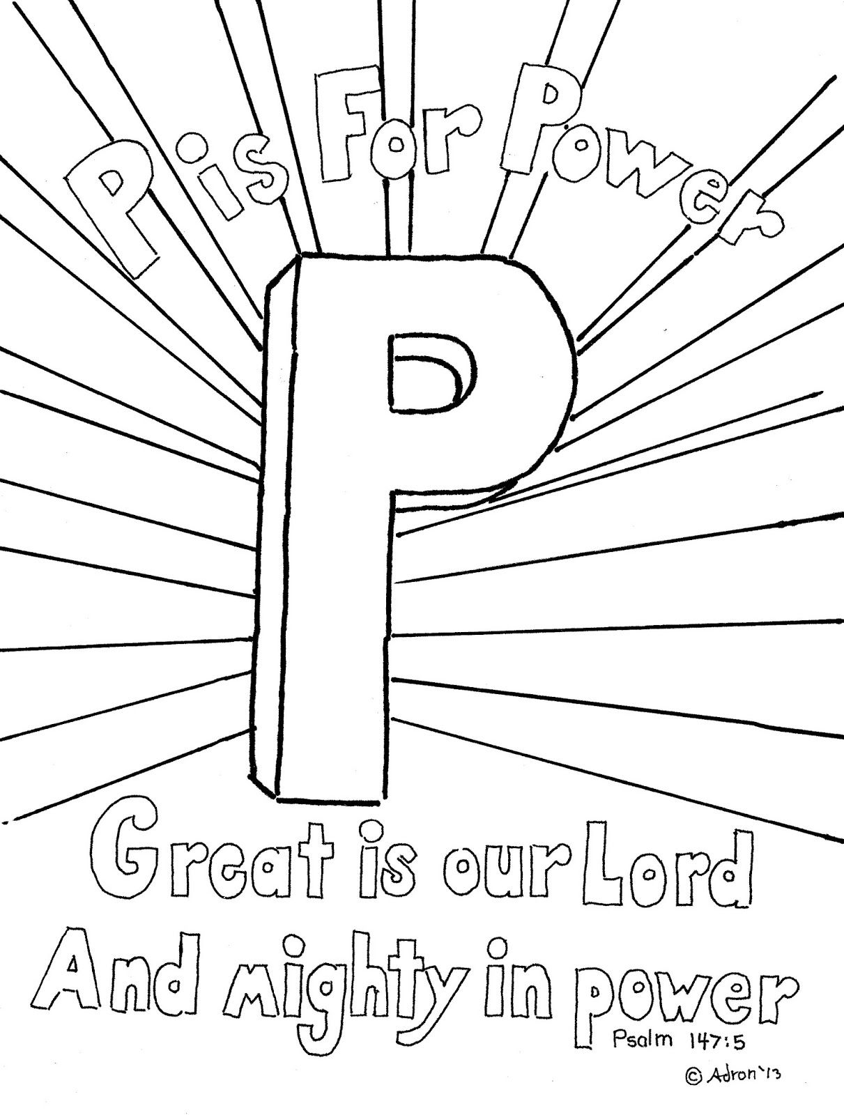 Coloring Pages For Kids By Mr Adron P Is For Power Psalm 147 5 Print And Color Page Free