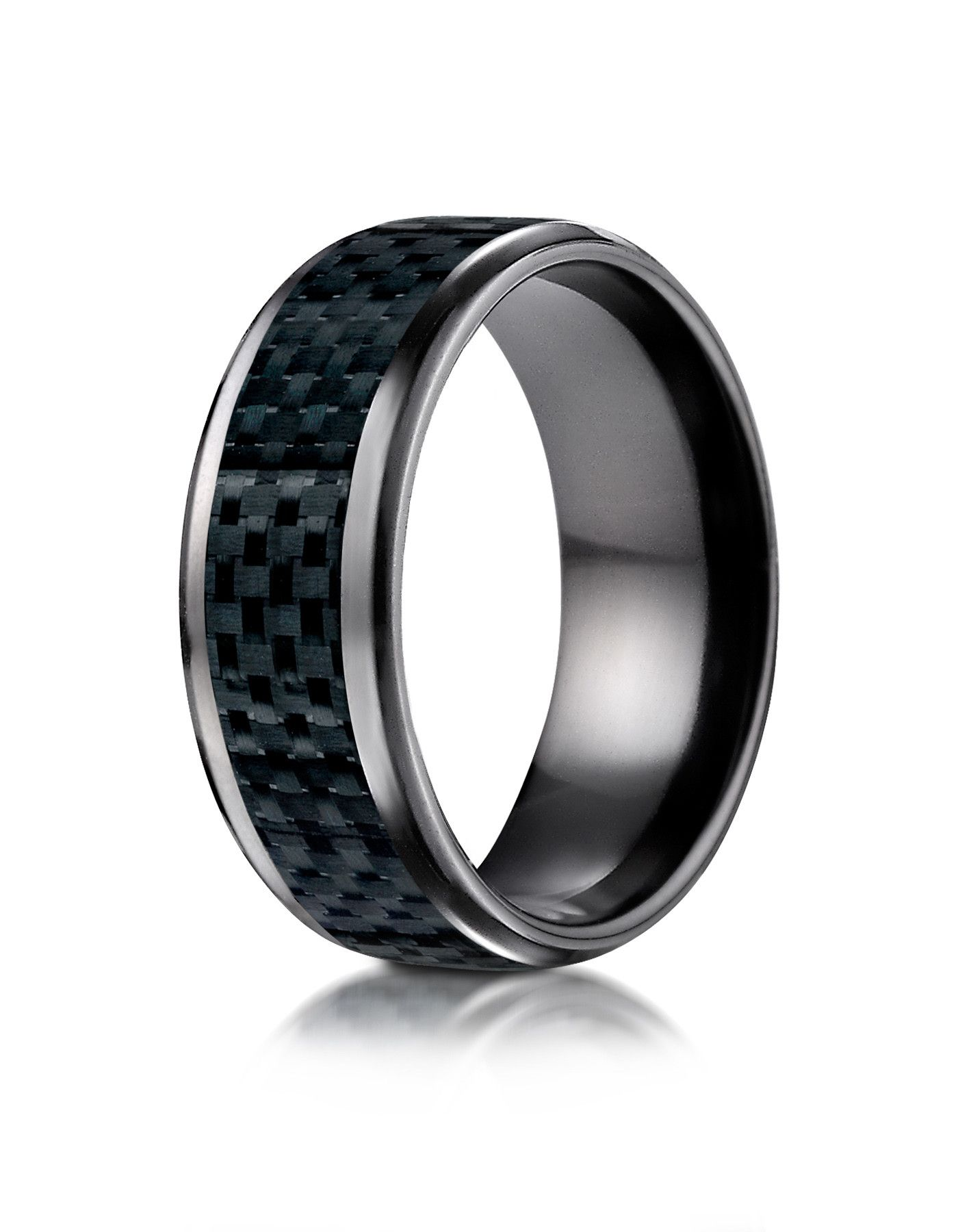 Belem Black Anium Carbon Fiber Inlay Wedding Band For Men