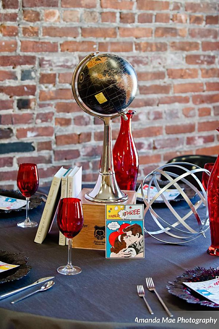 How fun is this comic book themed wedding?!  We designed the menus as comic strips with the food courses in conversation balloons. Click through to see all of the fun detals!