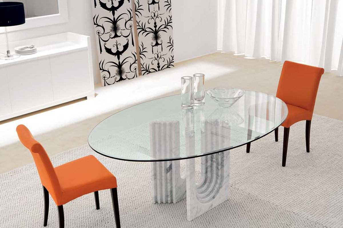 Oval glass dining table top