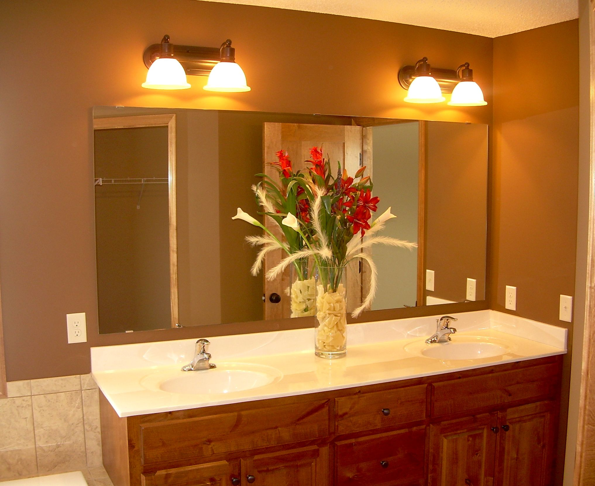 Bathroom Mirror : Bathroom Wall Mirrors Without Frame Bathroom Mirrors With  Wood Frame And Lights