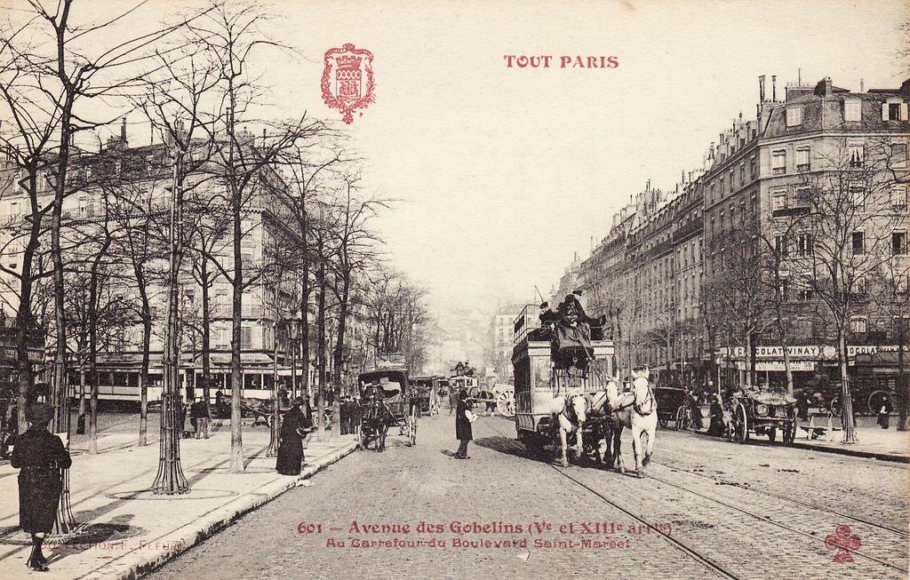 Avenue Des Gobelins Au Carrefour Du Boulevard Saint Marcel Vieux Paris Paris Paris 1900
