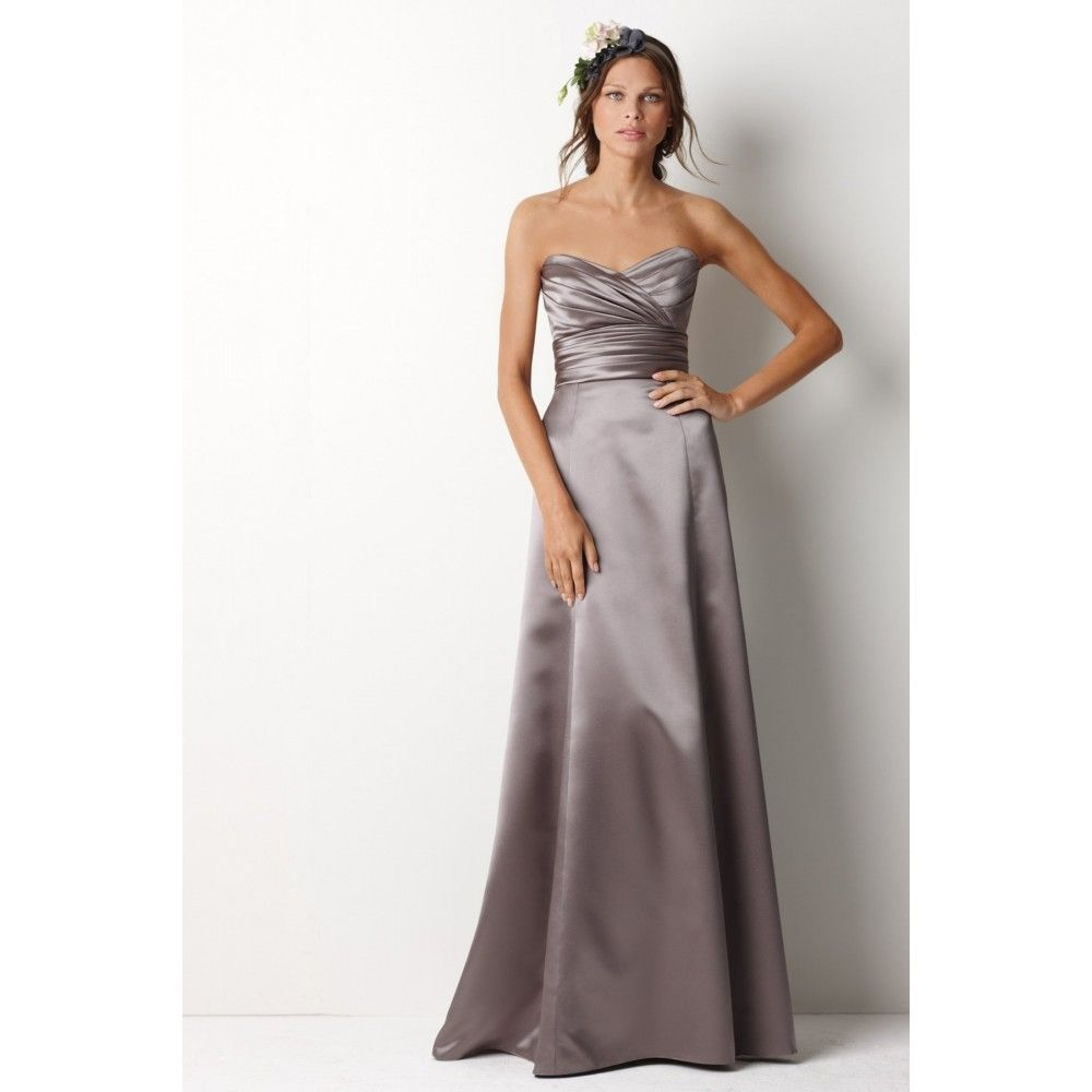 grey satin bridesmaid dresses