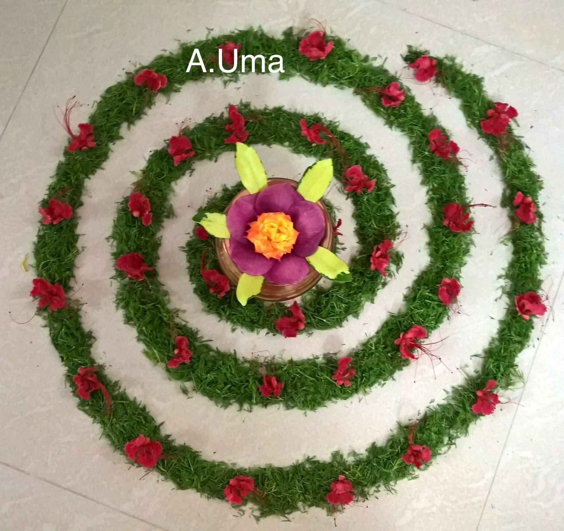 Circular Shape Flower Arrangement Flower Decorations Flower Art Flower Rangoli