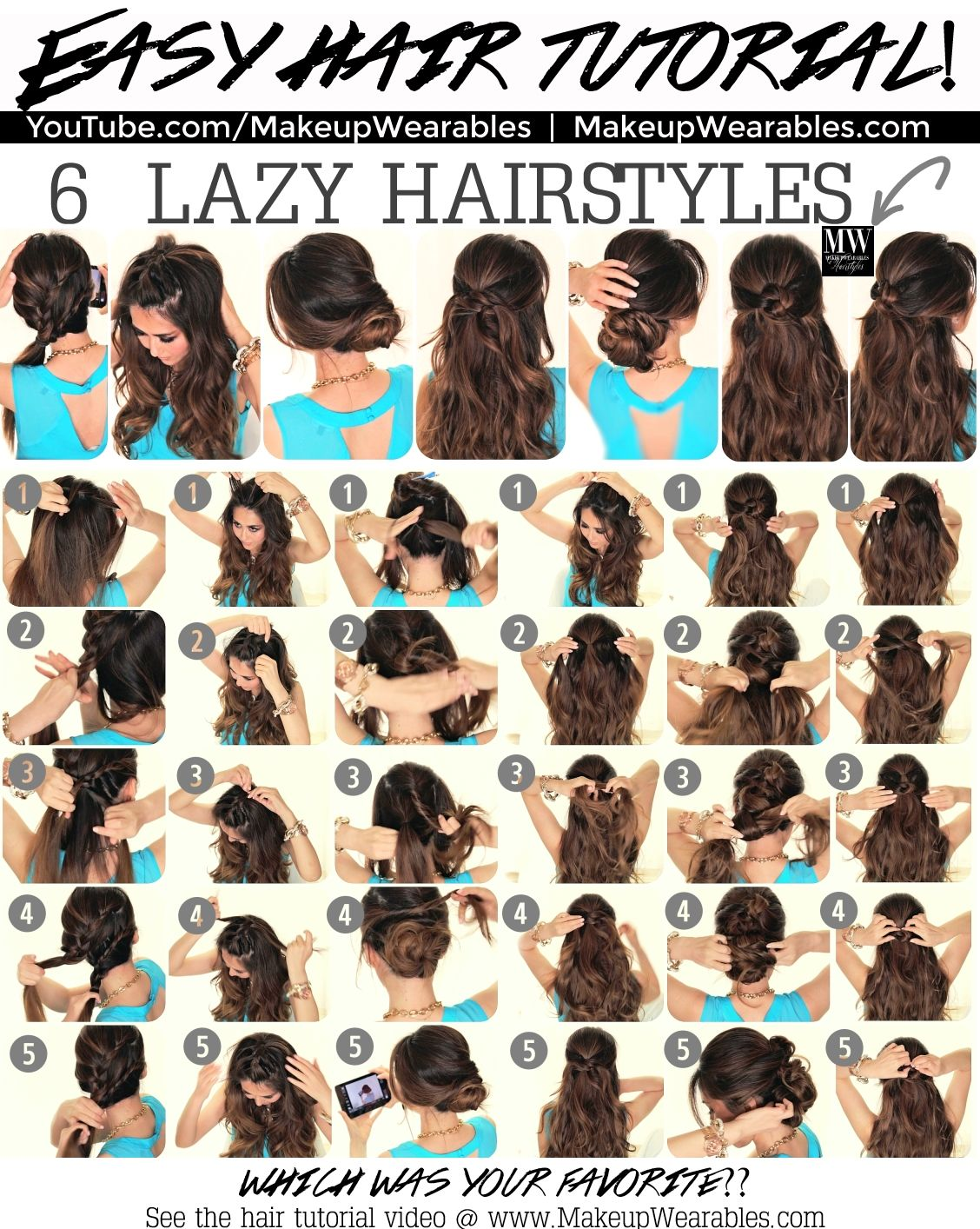 In This Hair Tutorial Video Learn How To Create 6 Easy 5 Minute