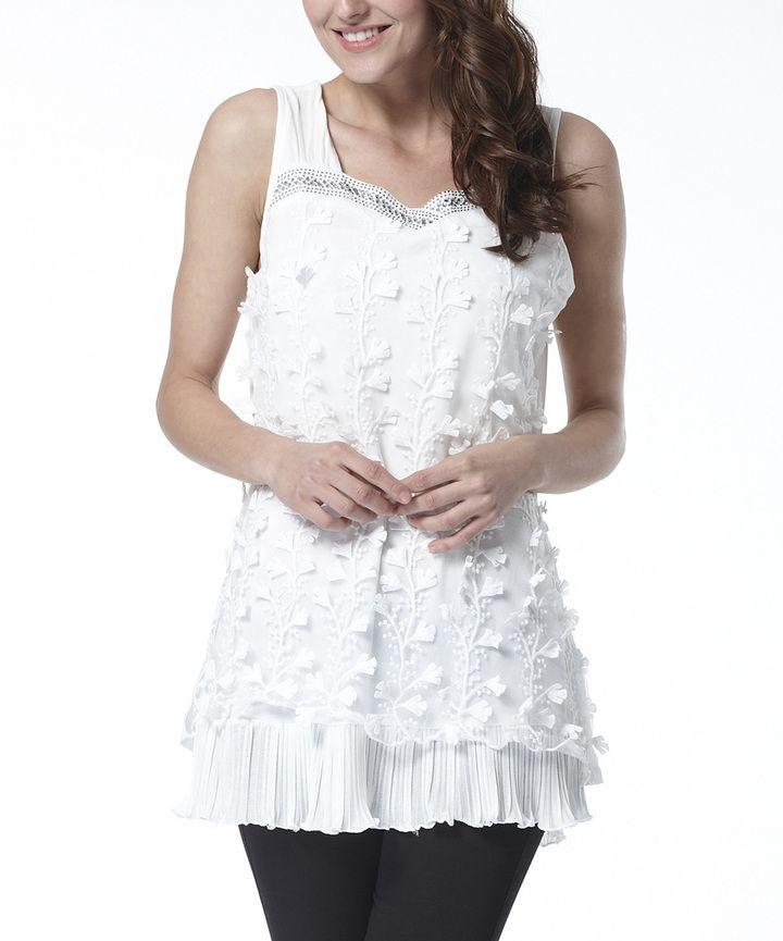 White Sequin Lace Sleeveless Tunic