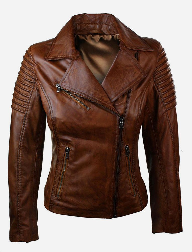 a040670c15c3 Ladies Women Biker Brando Real Leather Slim Fit Brown Jacket Handmade  Designer #Handmade #BasicJacket