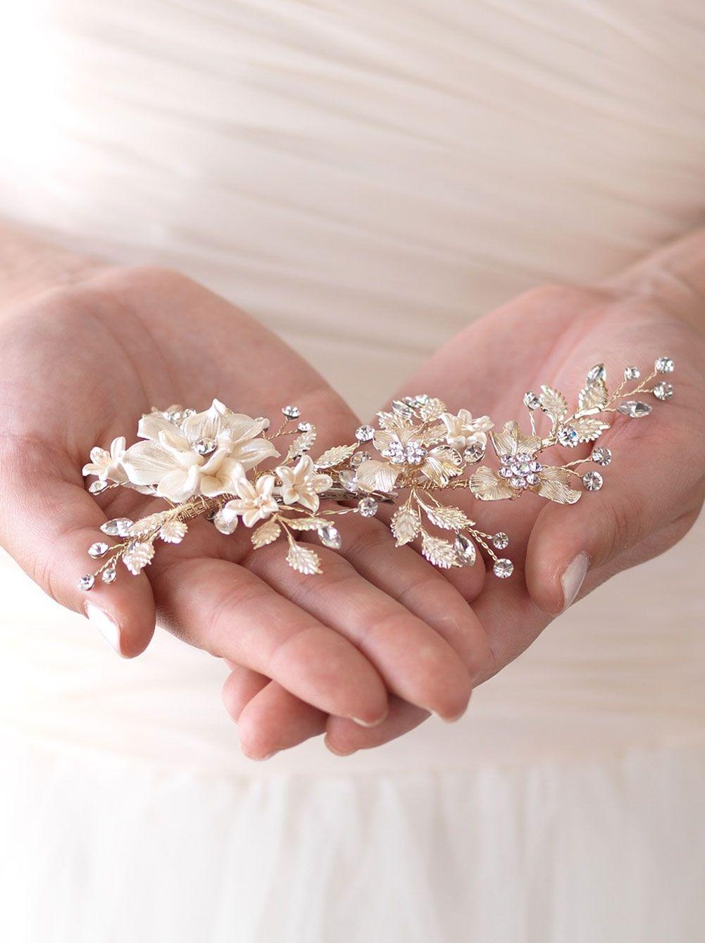 Ivory Gold Floral Clip Shop Wedding Accessories Usabride Wedding Hair Accessories Vintage Wedding Hair Accessories Bridal Clip