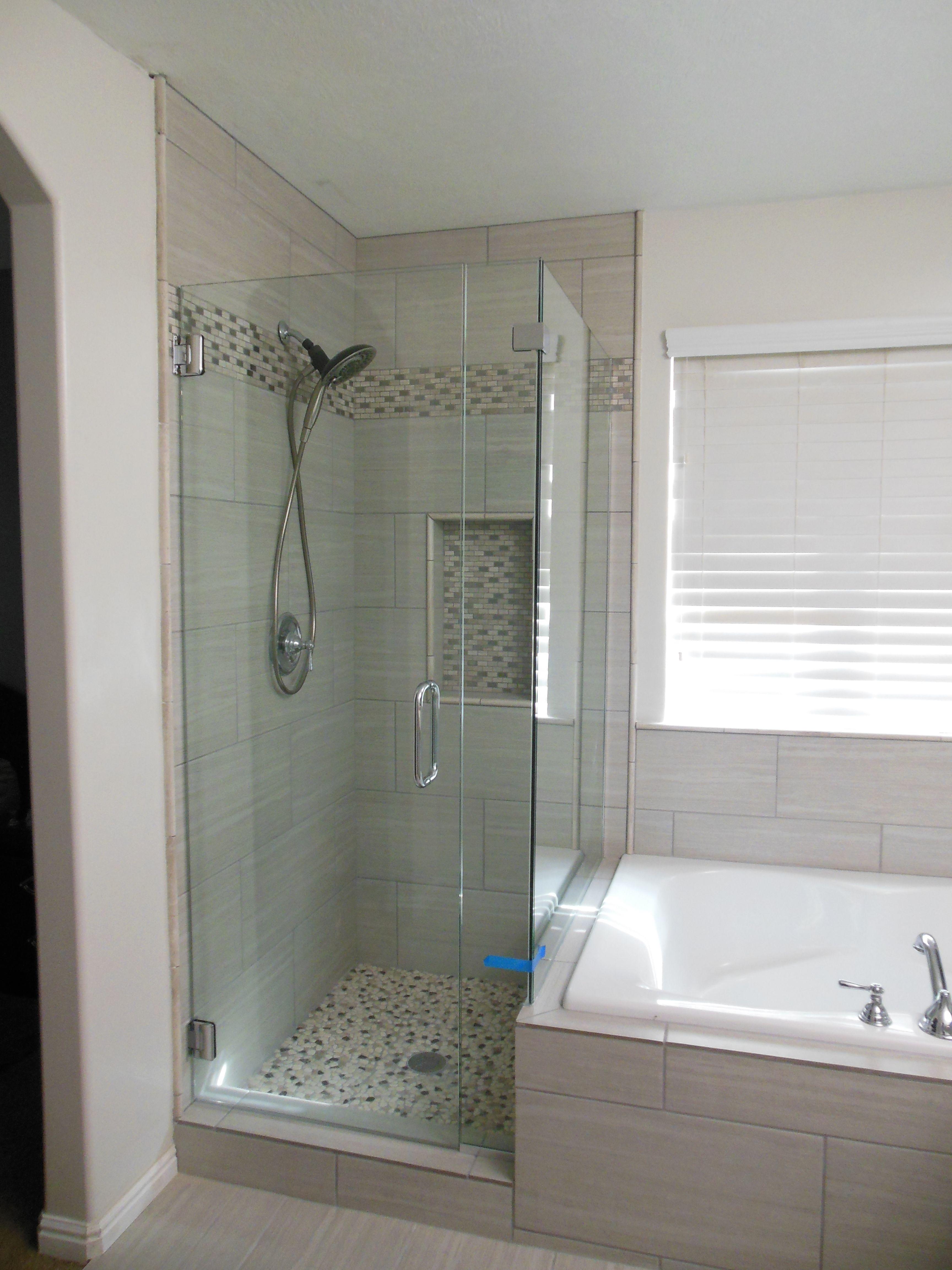 Gray Tile, built in shelf in shower, frameless glass ...