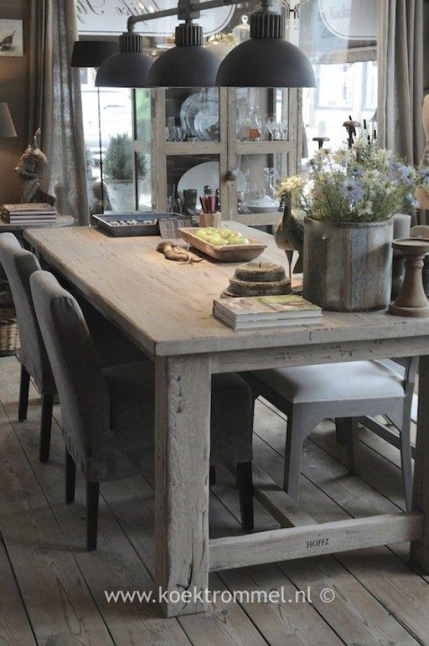 Mooie houten tafel Kitchen floor Pinterest