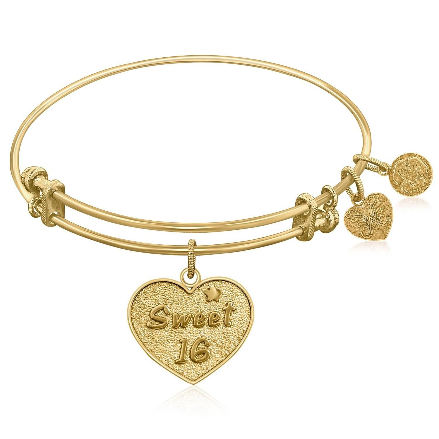 Expandable Bangle in Yellow Tone Brass with Sweet 16 Symbol