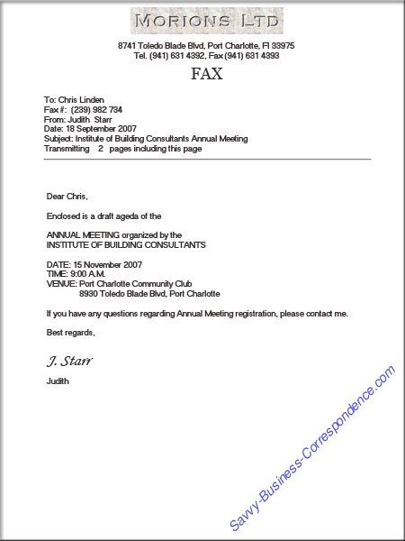 Business Fax Cover Sheet with Proper Formatting (and page count - example of a fax cover sheet