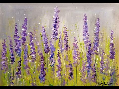 Easy lavender impressionist acrylic tutorial live free for Step by step acrylic painting flowers for beginners