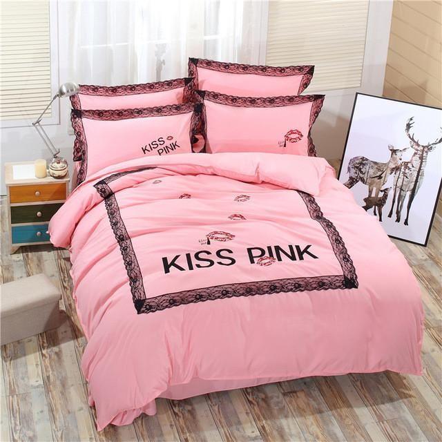 4pcs Vs Pink Bedding Set Duvet Cover Bed Sheet Bed Cover Home Textile Sheets Bedding Set Of Bed Linen Satin Bedsheet Bedspread Modern Bed Sheets Pink Bedding Set Duvet Bedding Sets