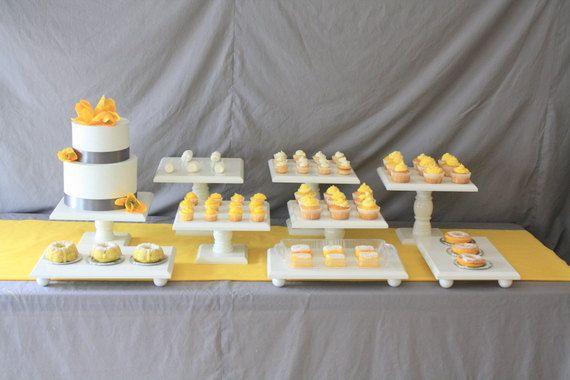 Wedding Dessert Bar Set- 9 piece square white cake stand set ... 938f08f8a48