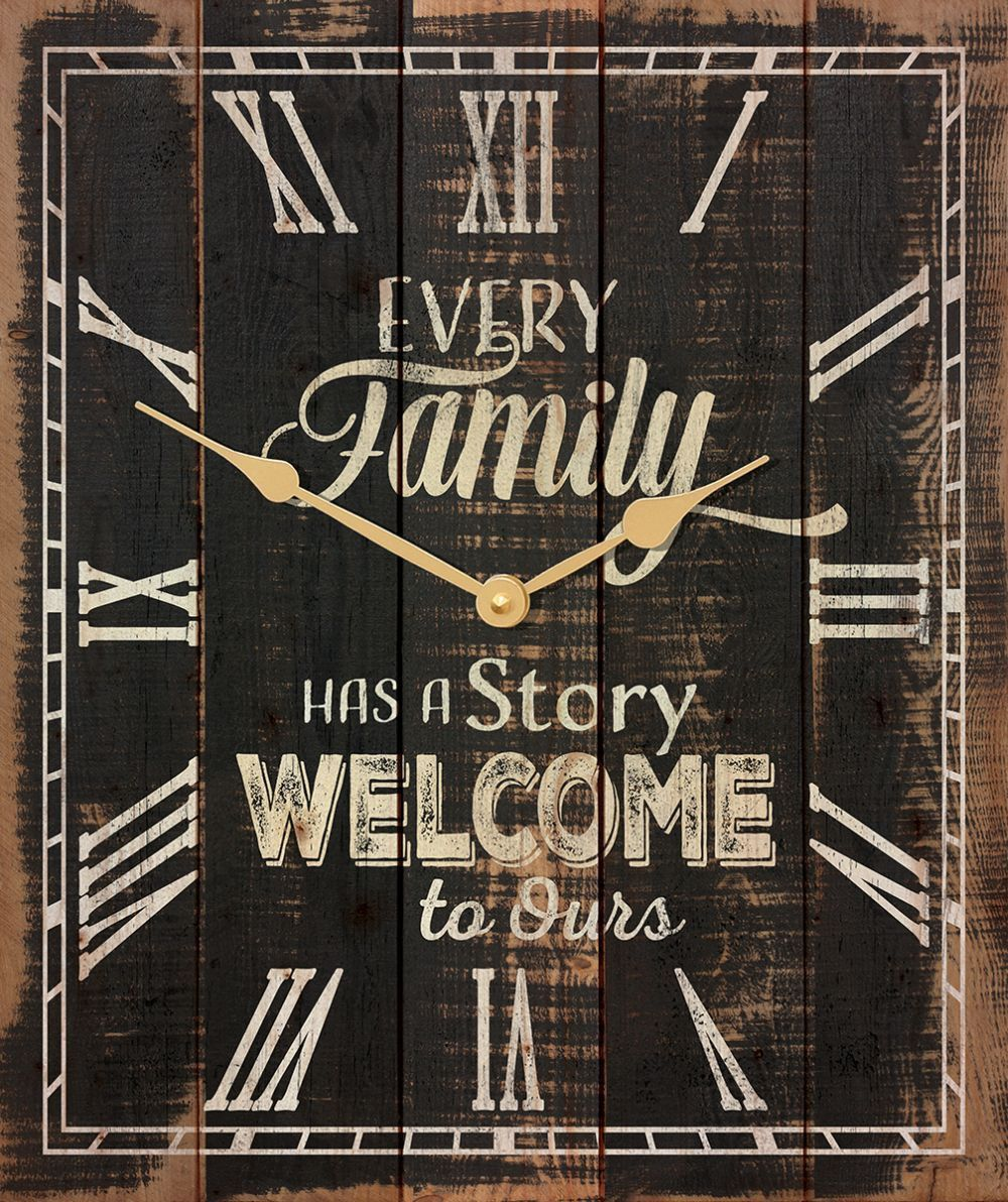 Every family has a story welcome to ours rustic wood wall clock every family has a story welcome to ours rustic wood wall clock amipublicfo Image collections