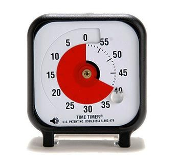 "3"" Time Timer w/optional audible signal sounds. $30 at Learning Shop"