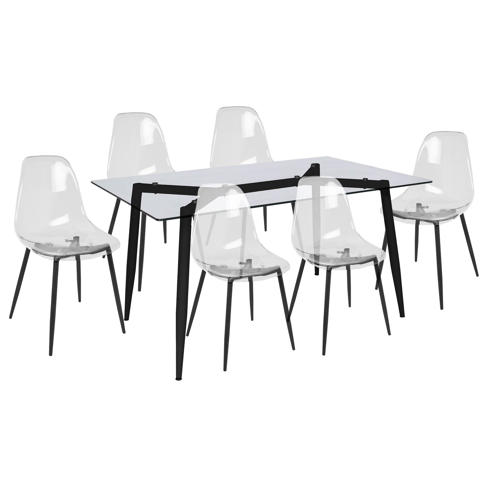 Fabulous Lumisource Clara Metal And Glass Mid Century Modern 7 Piece Ncnpc Chair Design For Home Ncnpcorg