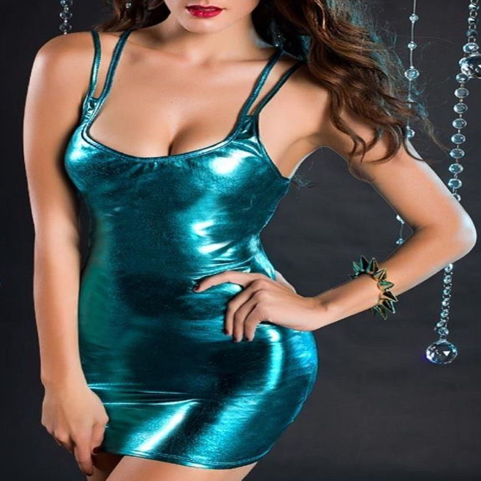 6a6c15a615b SEXY BLUE METALLIC WET LOOK PVC LYCRA BODYCON STRAPPY CLUBWEAR DRESS SIZE 8  S