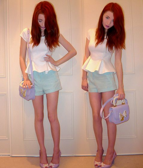 River Island Peplum Top, Smart Mint Green Shorts, Lilac Grab Bag, Vivienne Westwood X Melissa Lilac Lady Dragon Skull Shoes