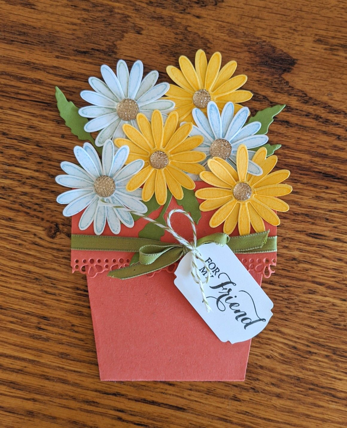 How To Make A Flower Pot Card Papertreecreations Daisy Cards Card Making Greeting Cards Handmade