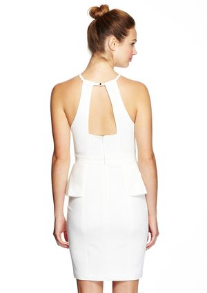 Back view: ARK & CO. Peplum Dress with Metal Collar Neck