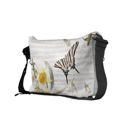 #vintage - #Butterfly Narcissus Amarylis Flowers Messenger Bag