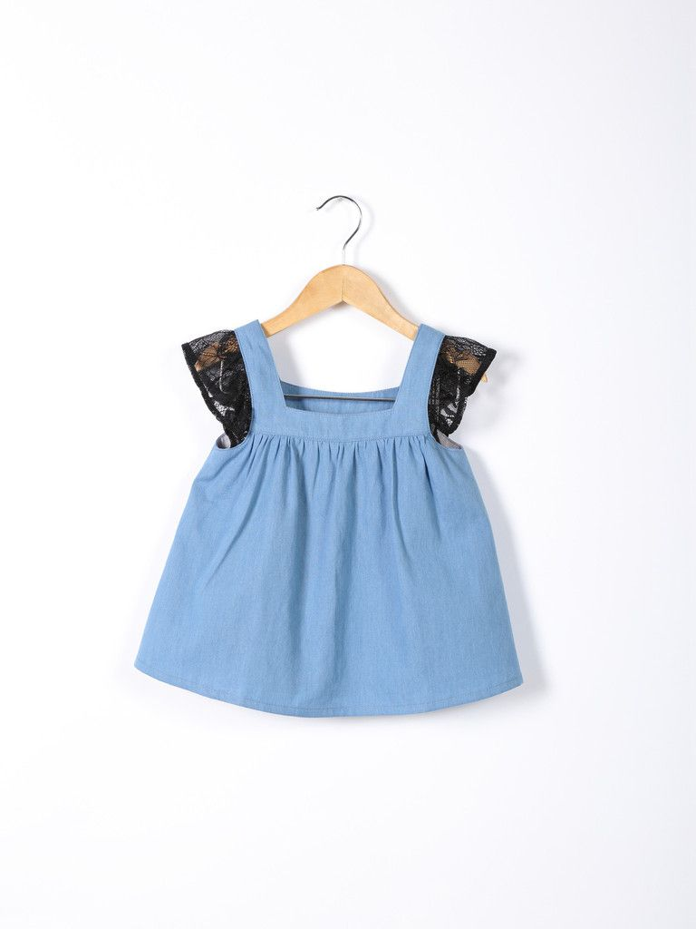 Love Bug Short-sleeved Lace & Denim Top | Patrones y Blusas