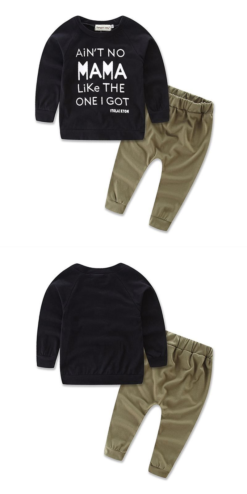2799bf2257495 Boys Cotton 2 Pcs Set Letter Printed Long Sleeves Tops And Pants ...