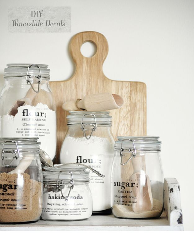Definition labels on clear canisters {free decal printable} | great on clear canisters in food, clear stools for kitchen, clear canisters with lids, canister sets for kitchen, spray paint a tray for kitchen, clear plastic kitchen canisters, acrylic canister sets kitchen,