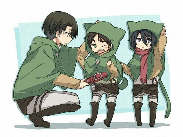 Levi (Rivaille), Eren and Mikasa | Shingeki no Kyojin (Attack on Titan) #SnK #Kawaii