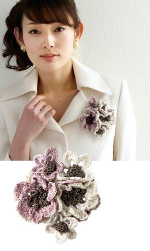Crochet flower corsage - free diagram pattern (Japanese) | Crochet ...