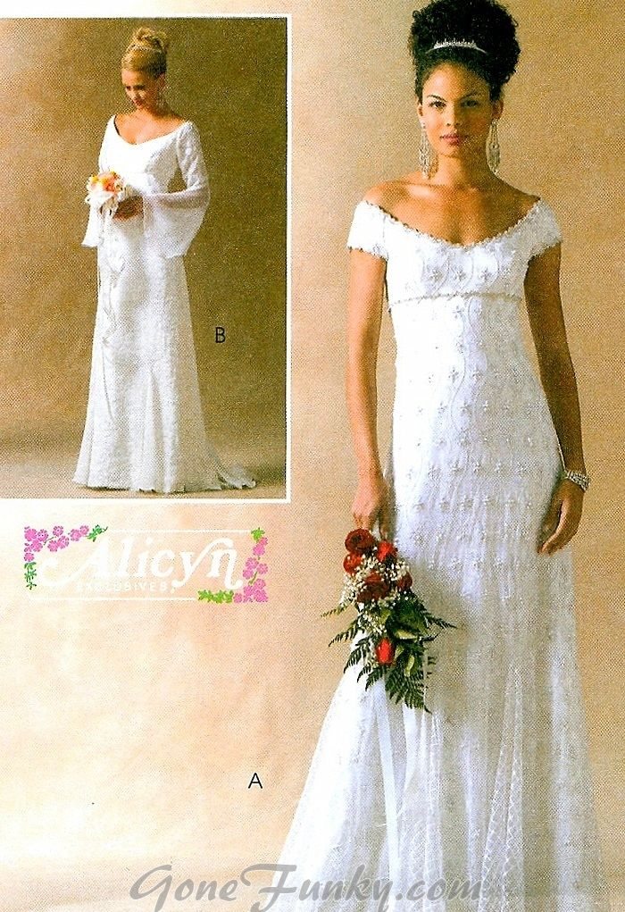 Off Shoulder Wedding Gown Sewing Pattern Bridal Dress Godets Bell ...