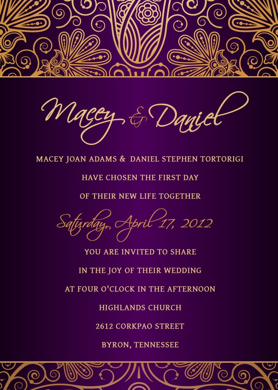 Personalized Royal Purple And Gold Damask Wedding Invitation. Available At  Boardman Printing.