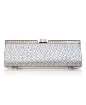 New Women's Silver Bejeweled Dimple Mini Clutch, Accented Silver Trim EB7200