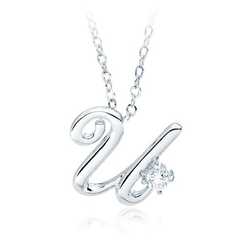 Letter U Name Initial Necklace with Cubic Zirconia A Special - celebration letter