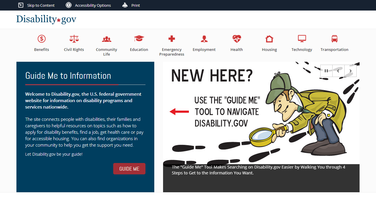 Disability.gov is the federal government website for